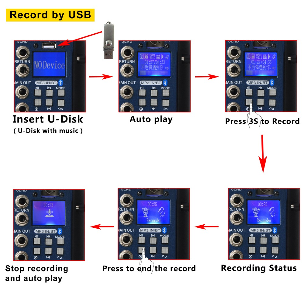 Freeboss Smr6 Bluetooth Record 2 Mono Stereo 6 Channels 3 Band Circuit Diagram Of Channel Audio Mixer Eq 16 Dsp