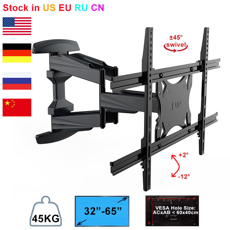 Plasma Flat Retractable LCD Bracket TV Mount Wall Mount Wall Stand  Adjustable Mount Arm Fit for 32