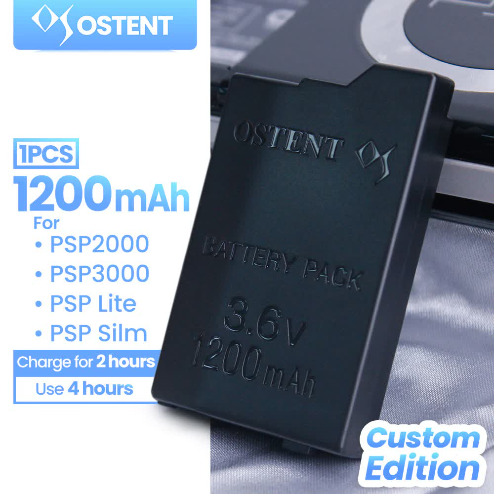 OSTENT High Capacity Quality Real 1200mAh 3.6V Lithium Ion Rechargeable Battery Pack Replacement for Sony PSP 2000/3000 PSP-S110