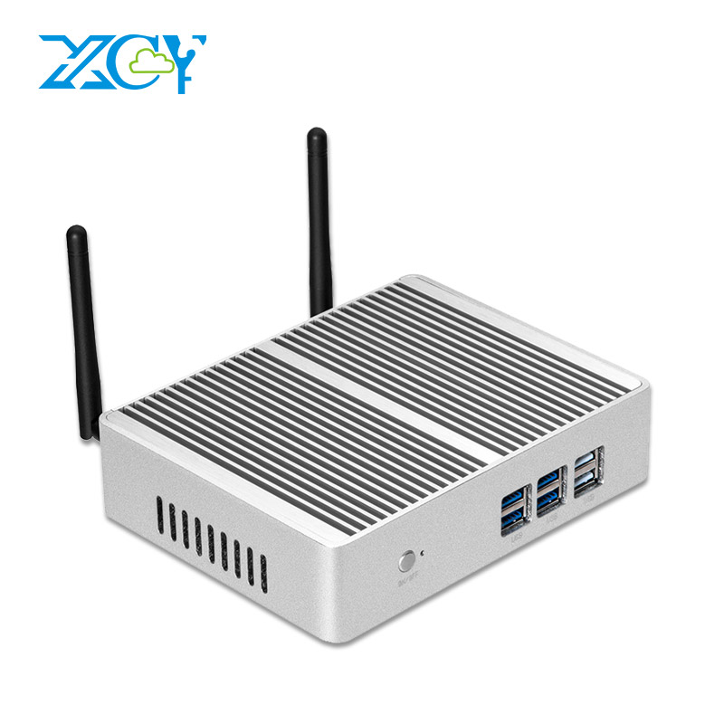 XCY X32 Fanless Mini PC Intel Core i7 4510Y i5 4210Y i3 5005U Windows 10 TV BOX HDMI VGA 6 USB WiFi HTPC Barebone Desktop PC