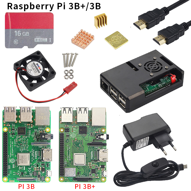Raspberry Pi 3 Model B Board+16G SD Card + 3 pcs Heat Sink+5V 2.5A Power Adapter with Switch + HDMI Cable +Raspberry Pi 3 Case